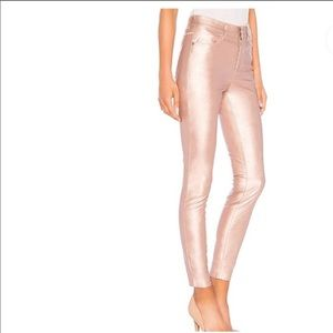Free People pink/rose metallic skinny pants 28